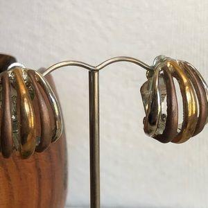 Vintage Tri-metal Half Hoop Clip Earrings